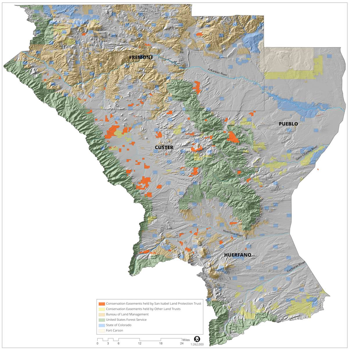 Map of conservation easements for Custer, Fremont, Pueblo and Huerfano Counties.